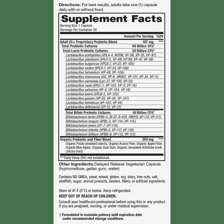 Vital Flora Adult 55 Supplement Facts Panel