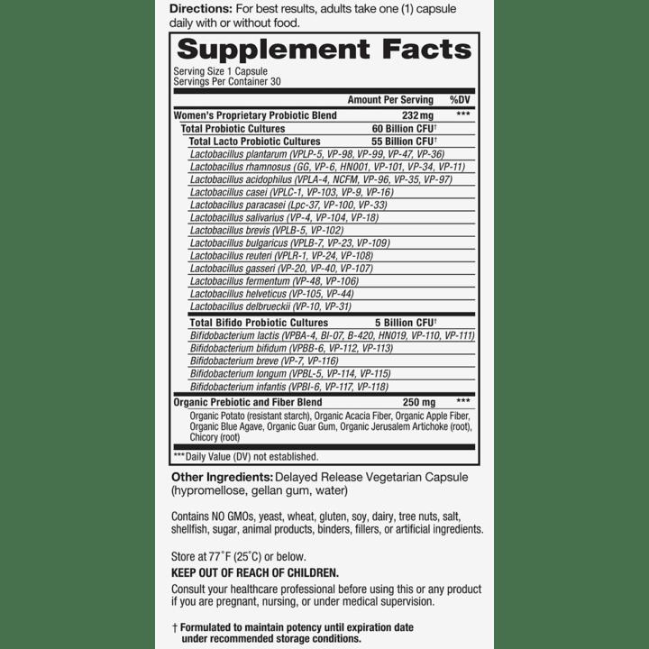 Vital Flora Womens Supplement Facts