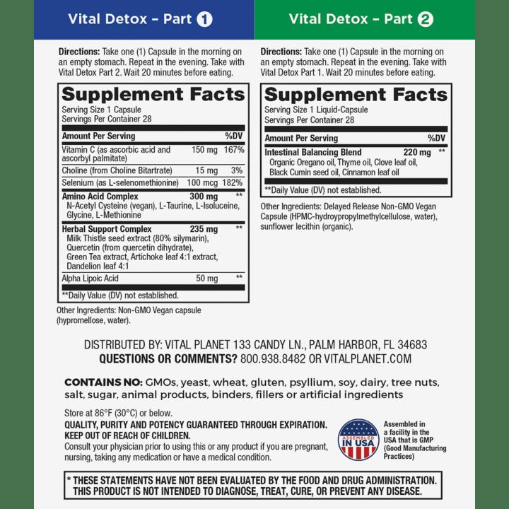 Vital Detox Supplement Facts