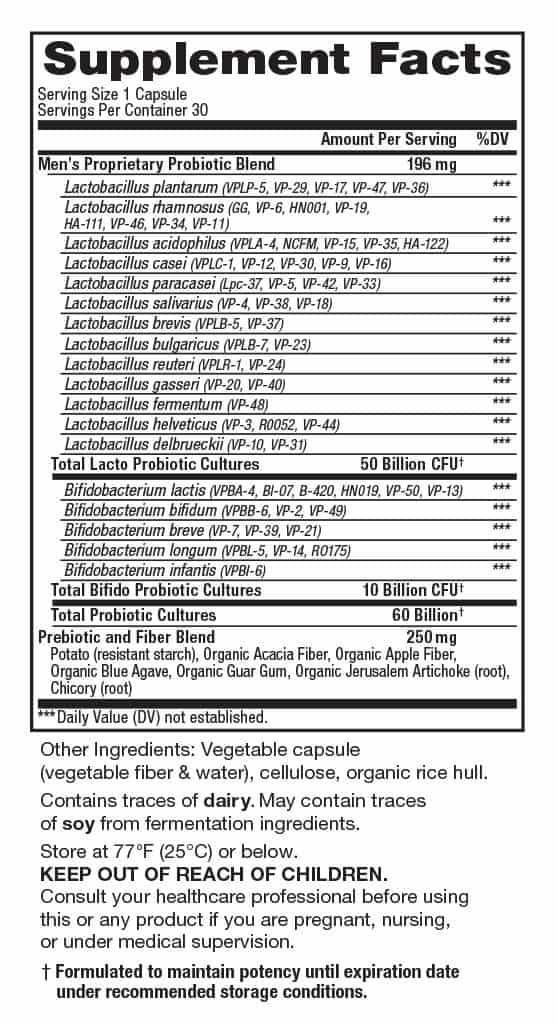 Vital Flora Mens Probiotic Supplement Facts