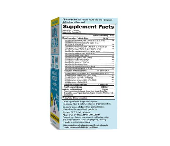 vital flora mens supplement facts