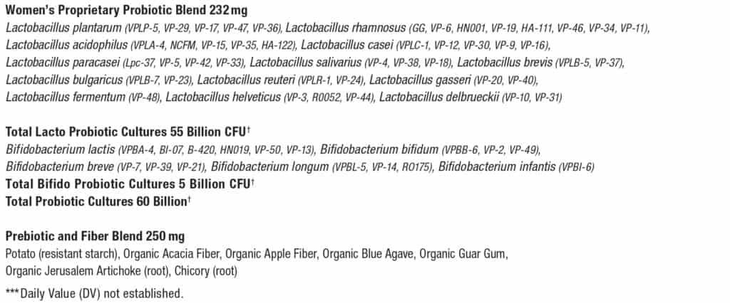 Vital Flora Womens 55+ Daily Probiotic Ingredients