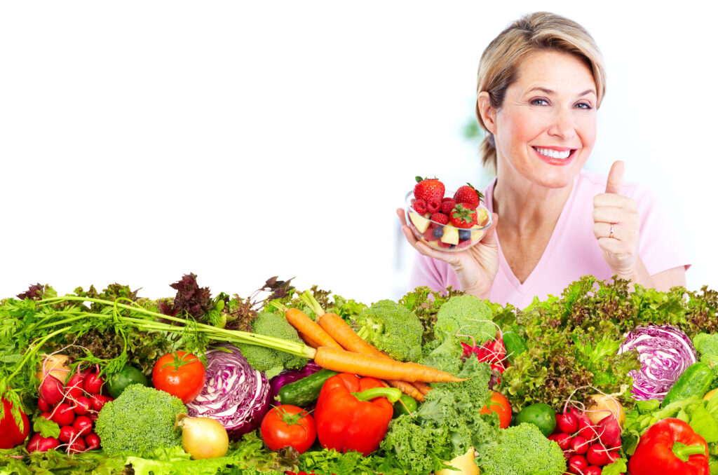 woman with fruits and veggies