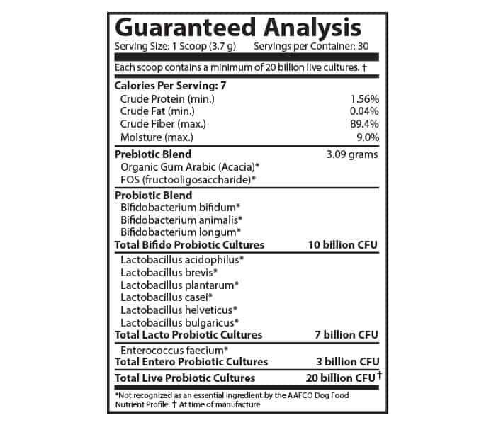 Flora Dog 20 Billion Probiotic Powder Guaranteed Analysis